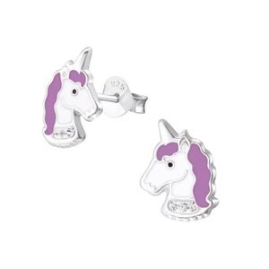 925 Sterling Silver Purple Unicorn Earrings